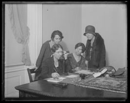 Anna Kelton Wiley, founder of The National Woman's Party telephones Doris Stevens, chairman of the InterAmerican Commission of Women at the Haugue, to ascertain whether the World Code now being drawn up by the Codification Conference of International Law will be based on sex discrimination, April 3, 1930. In the photograph, left to right: Anita Pollitzer of South Carolina; Anna Kelton Wiley; Alice Paul; and Elsie Hill of Connecticut. Photo by Harris and Ewing, courtesy Library of Congress Prints and Photographs Division Washington, D.C. http://www.loc.gov/pictures/item/hec2013005824/