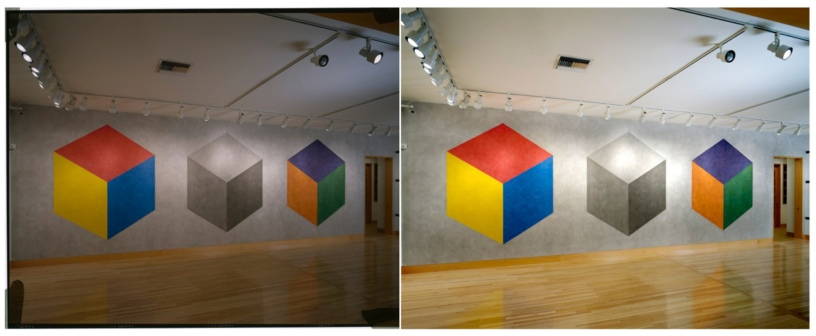 Wall Drawing #795 at Fraenkel Gallery, San Francisco, 1998. Photo by Ian Reeves, courtesy, Fraenkel Gallery. Unprocessed image (left) vs. Processed image (right).