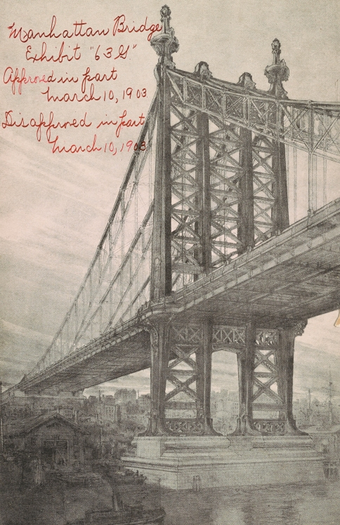 Manhattan Bridge, architect Henry F. Hornbostel, series 63, exhibit G, approved and disapproved in part March 10, 1903. Collection of the Public Design Commission of the City of New York.