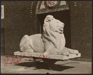 Design and locations of two lions at the Fifth Avenue entrance to the New York Public Library in Manhattan, sculptor E.C. Potter, photographer A.E. Sproul, series 208, exhibit AZ, approved October 11, 1910. Collection of the Public Design Commission of the City of New York. Photographic print, 9.5 x 7.5 in.