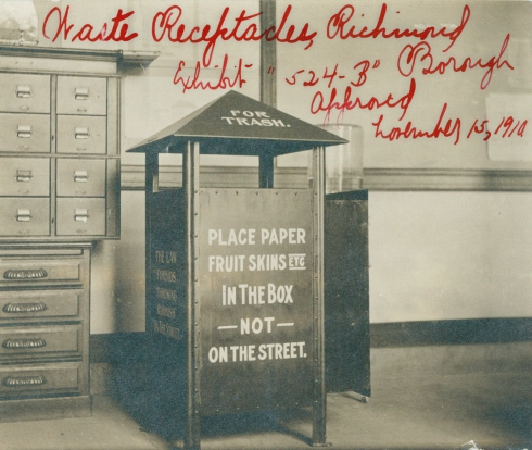 Waste receptacles in Richmond Borough, designed by the Superintendent of Street Cleaning, series 524, exhibit B, approved November 15, 1910. Collection of the Public Design Commission of the City of New York.