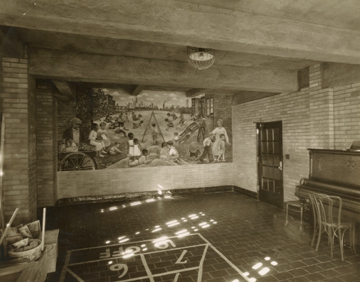Mural in the recreation room of the House of Detention for Women at Greenwich Avenue and 10th Street in Manhattan, artist Lucienne Bloch, series 1498, exhibit AC, approved February 11, 1936. Collection of the Public Design Commission of the City of New York.