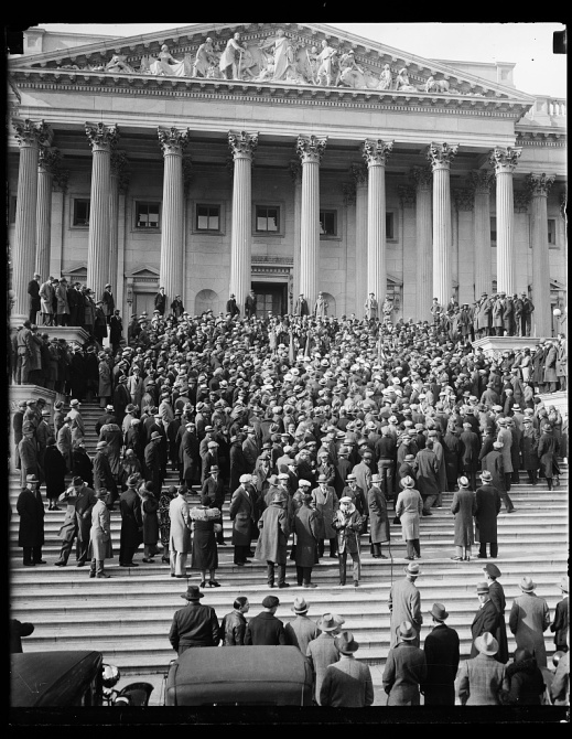 Vets protest bonus bill delay, January 1931, Washington D.C. Photo by Harris & Ewing, courtesy Library of Congress Prints and Photographs Division: http://www.loc.gov/pictures/item/hec2013006243/