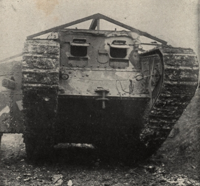 Front view of a British Tank, ca. 1916, from Photographic History of The World's War, 1918.