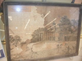 "1815 embroidery of Mt. Vernon by Frances ""Fanny"" Macklin Ellis Wilkinson, using human hair, pre-conservation. Photo of Jenny Barker Devine, Associate Professor of History, Illinois College."