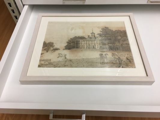 "1815 embroidery of Mt. Vernon by Frances ""Fanny"" Macklin Ellis Wilkinson, using human hair, post-conservation. Photo courtesy of the Khalaf Al Habtoor Archives at Illinois College."