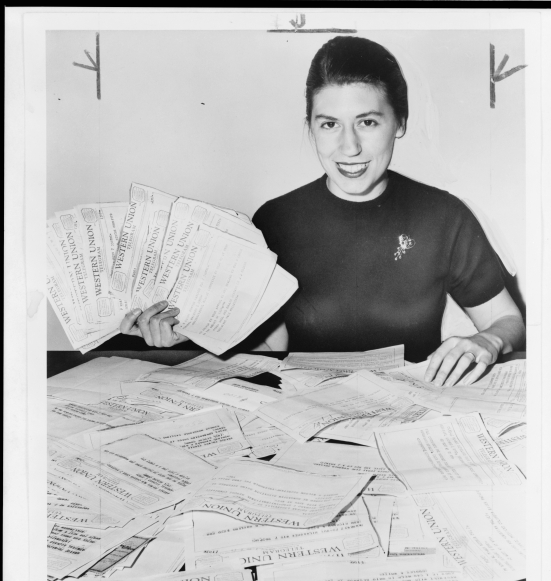 Secretary with telegrams pledging over $100,000.00 to International Rescue Committee, November 8, 1956/ World Telegram & Sun photo by Ed. Ford, courtesy Library of Congress Prints and Photographs Division Washington, D.C. http://www.loc.gov/pictures/item/95505385/
