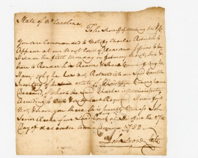 Summons to the Sheriff of Washington County, NC from Clerk of the Court John Sevier, from 1782. Photo courtesy National Park Service Collections Preservation Center, Great Smoky Mountains National Park.