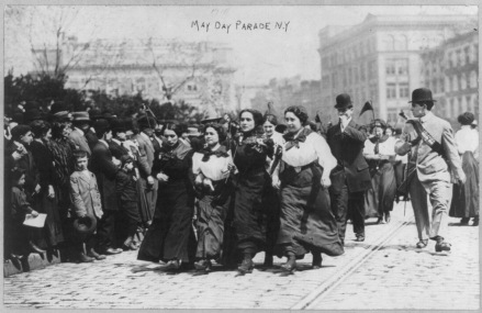 May Day Parade, New York, 1910. Photo courtesy George Grantham Bain Collection, Library of Congress Prints and Photographs Division: https://www.loc.gov/resource/cph.3a51058/