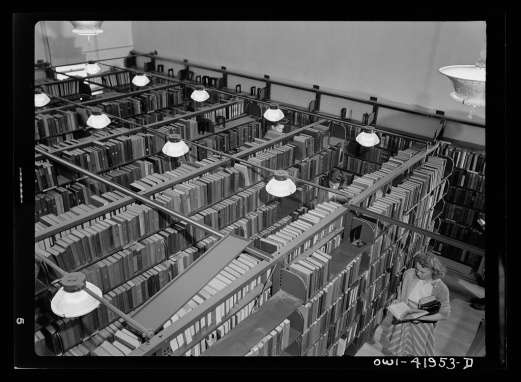 Southington, Connecticut. Stacks of the public library containing 15,000 books. Photo by Charles Fenno Jacobs, courtesy Library of Congress Prints and Photographs Division Washington, Farm Security Administration - Office of War Information photograph collection (Library of Congress): https://www.loc.gov/resource/fsa.8d34963/