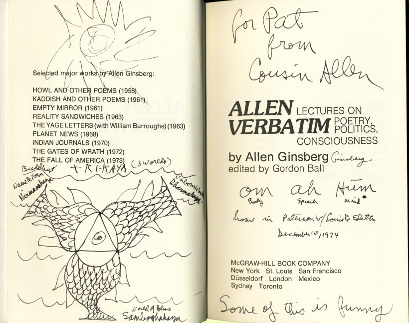 Ginsberg, Allen - Verbatim, 1974 - inscription