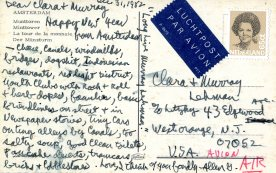Allen Ginsberg writes to his Aunt Clara from Amsterdam. 12/31/82. Photo courtesy of the Jewish Historical Society of New Jersey