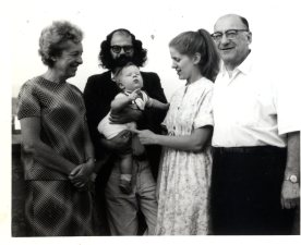 Edith Ginsberg, Allen Ginsberg (holding unknown child), unknown, Louis Ginsberg (L-R), ca. 1967. Photo courtesy of the Jewish Historical Society of New Jersey.