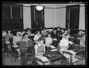 Typing class at the San Diego Vocational School, June 1941. Photo by Lee Russell, courtesy U.S. Farm Security Administration/Office of War Information/Office of Emergency Management/Resettlement Administration Black & White Photographs, Library of Congress Prints and Photographs Division Washington, D.C. http://www.loc.gov/pictures/item/2017789625/