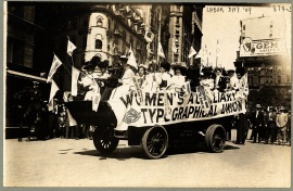 Woman on float of the Women's Auxilliary Typographical Union, Labor Day parade, New York, New York, September 6, 1909. Photo courtesy George Grantham Bain Collection, Library of Congress Prints and Photographs Division Washington, D.C. https://www.loc.gov/resource/ppmsc.00154/